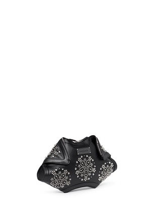 Front View - Click To Enlarge - Alexander McQueen - 'De Manta' floral stud leather clutch