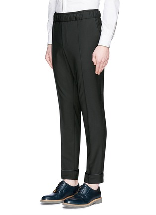 Front View - Click To Enlarge - Valentino - Pintucked wool-Mohair jogging pants