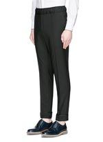 Pintucked wool-Mohair jogging pants