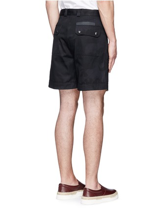 Back View - Click To Enlarge - Valentino - 'Camu Noir' cotton twill shorts