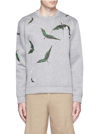 Main View - Click To Enlarge - Valentino - Bird patch appliqué scuba jersey top
