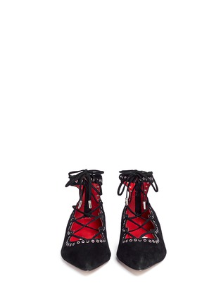 Figure View - Click To Enlarge - Pedder Red - 'Joey-Rock' eyelet suede lace-up skimmer flats