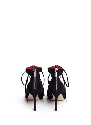 Back View - Click To Enlarge - Pedder Red - 'Jess' suede lace-up pumps