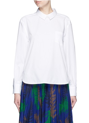 Main View - Click To Enlarge - Sacai - Lace-up back cotton poplin shirt