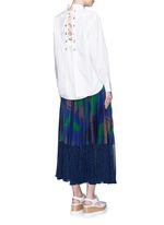 Lace-up back cotton poplin shirt