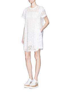 SACAIButton poplin trim star lace T-shirt dress