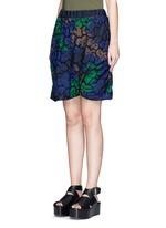 Floral print cutout guipure lace bubble shorts