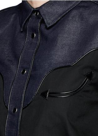 Detail View - Click To Enlarge - Sacai - Western line cotton-linen denim peplum shirt