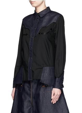 Front View - Click To Enlarge - Sacai - Western line cotton-linen denim peplum shirt