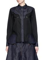 Western line cotton-linen denim peplum shirt