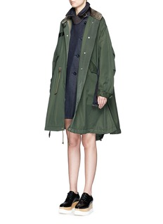 SACAI Denim dress insert Cavalry twill swing coat