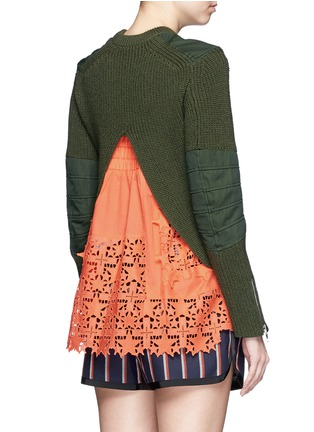 Back View - Click To Enlarge - Sacai - Star lace camisole rib knit sweater set