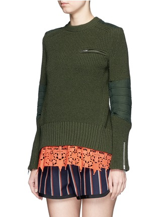 Front View - Click To Enlarge - Sacai - Star lace camisole rib knit sweater set