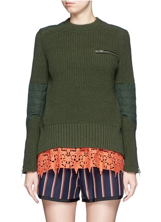 Main View - Click To Enlarge - Sacai - Star lace camisole rib knit sweater set