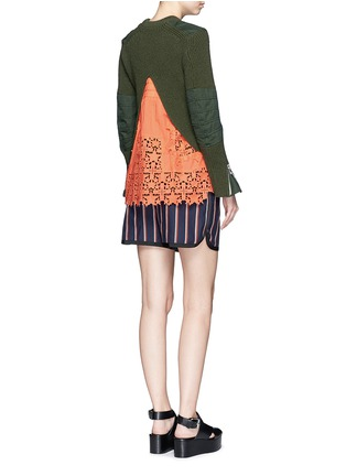 Figure View - Click To Enlarge - Sacai - Star lace camisole rib knit sweater set