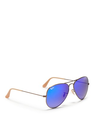 Figure View - Click To Enlarge - Ray-Ban - 'Aviator Large Metal' mirror sunglasses