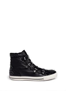 ASHViking studded metallic leather sneakers