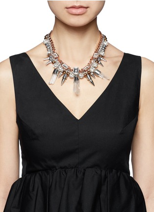Figure View - Click To Enlarge - MOUNSER - Eno quartz crystal drop collar necklace