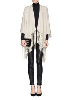 ARMANI COLLEZIONISuede leather fringe shawl
