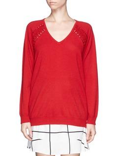 CHLOÉCrochet panel sweater