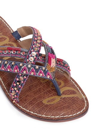 Detail View - Click To Enlarge - Sam Edelman - 'Karly' beaded crisscross thong sandals
