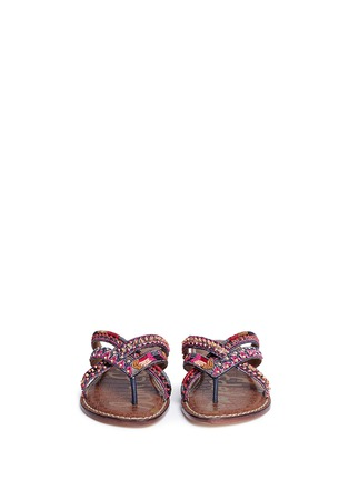 Front View - Click To Enlarge - Sam Edelman - 'Karly' beaded crisscross thong sandals
