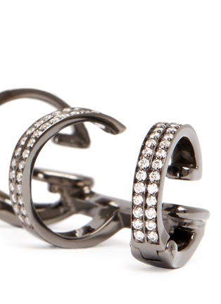 Detail View - Click To Enlarge - REPOSSI - 'Berbère' diamond black gold 3-hoop ear cuff