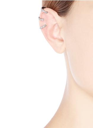 Figure View - Click To Enlarge - REPOSSI - 'Berbère' diamond black gold 3-hoop ear cuff