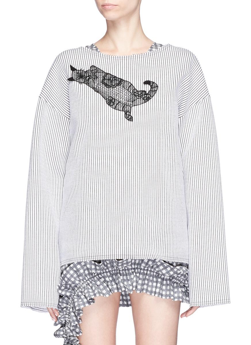 Cat guipure lace patch stripe sweatshirt by Dawei