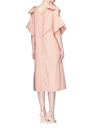 Back View - Click To Enlarge - Chloé - Knotted cold shoulder poplin dress