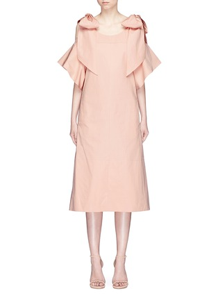 Main View - Click To Enlarge - Chloé - Knotted cold shoulder poplin dress