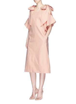 Figure View - Click To Enlarge - Chloé - Knotted cold shoulder poplin dress