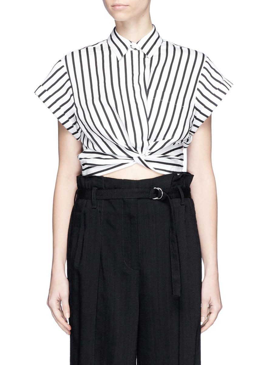 Stripe twist front cropped shirt by T By Alexander Wang