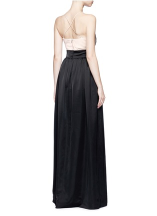 Back View - Click To Enlarge - Victoria Beckham - Pleated bustier colourblock satin floor length gown