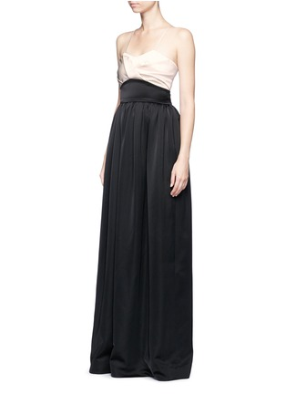 Front View - Click To Enlarge - Victoria Beckham - Pleated bustier colourblock satin floor length gown