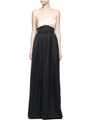 Main View - Click To Enlarge - Victoria Beckham - Pleated bustier colourblock satin floor length gown