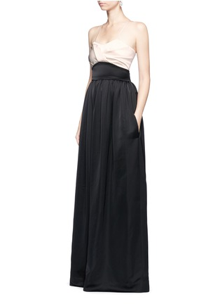 Figure View - Click To Enlarge - Victoria Beckham - Pleated bustier colourblock satin floor length gown