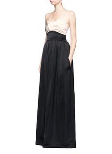Victoria BeckhamPleated bustier colourblock satin floor length gown