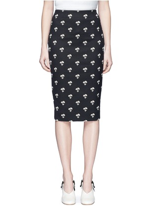 Main View - Click To Enlarge - Victoria Beckham - Daisy jacquard pencil skirt