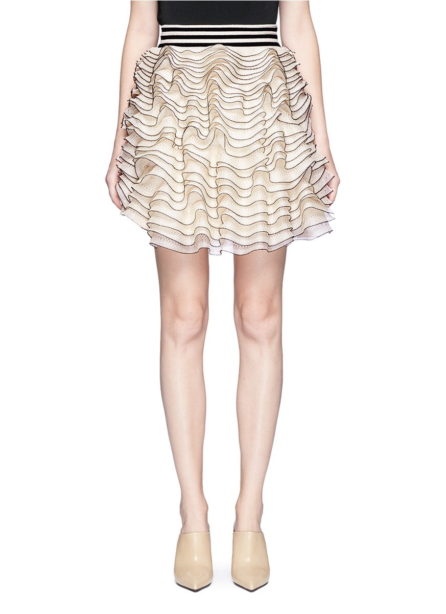 3D ruffle mesh knit mini skirt by Alexander McQueen
