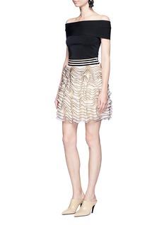 Alexander McQueen3D ruffle mesh knit mini skirt