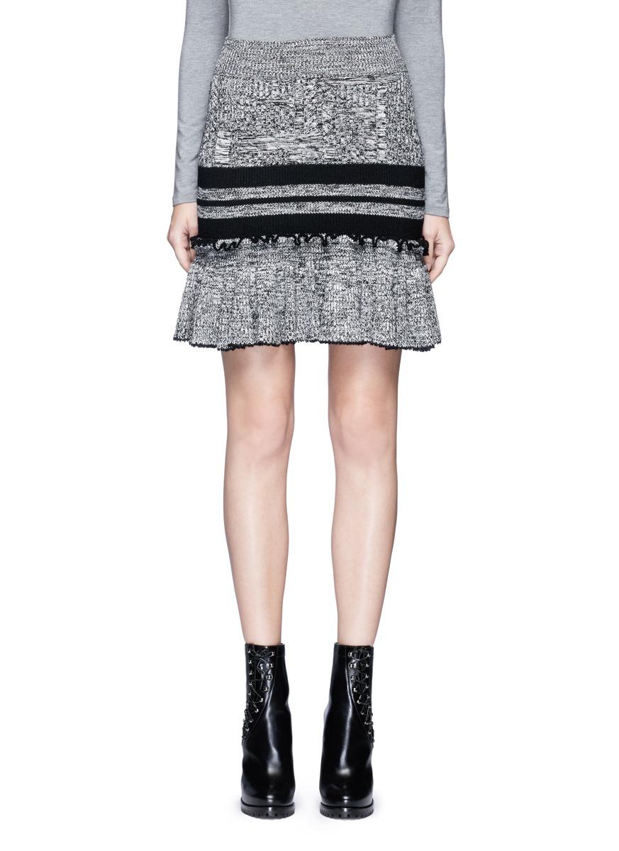 alexander mcqueen female mixed cable knit ruffle peplum skirt