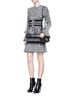 Alexander McQueen Mixed cable knit ruffle peplum skirt