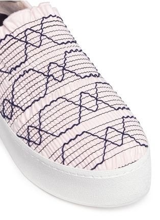 Detail View - Click To Enlarge - Opening Ceremony - 'Cici' smocked flatform skate slip-ons