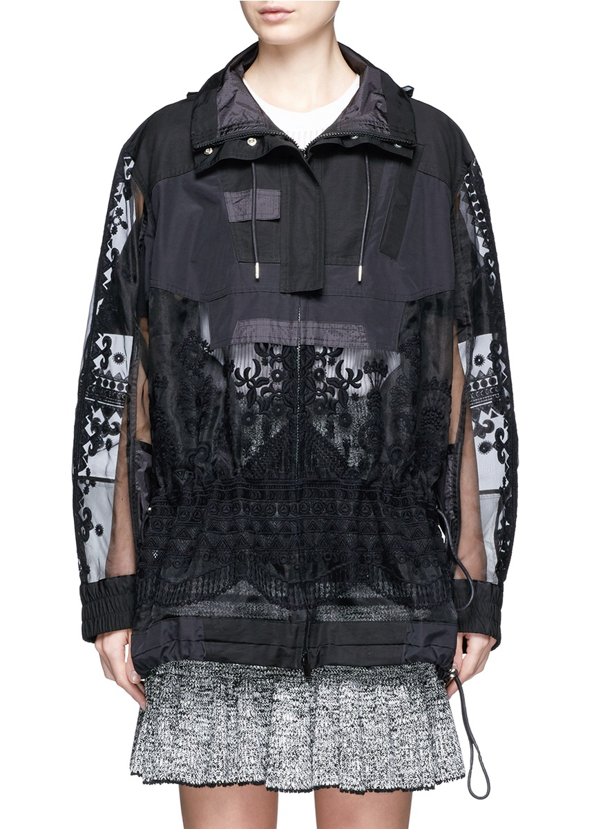 Embroidered tribal lace drawstring hooded jacket by Sacai