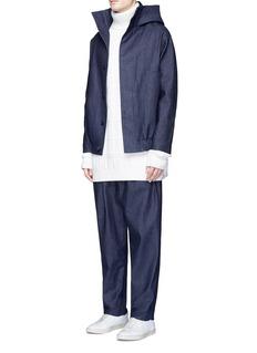FFIXXED STUDIOSHooded Japanese denim bomber jacket