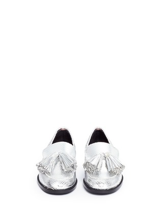 Front View - Click To Enlarge - Frances Valentine - 'Greta' metallic snakeskin embossed leather loafers