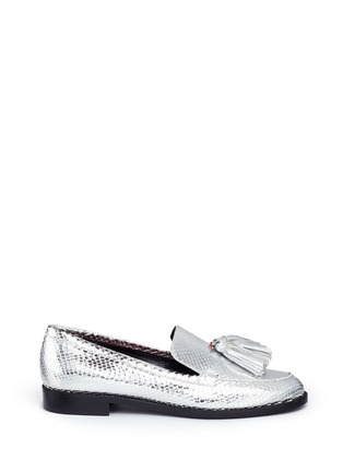 Main View - Click To Enlarge - Frances Valentine - 'Greta' metallic snakeskin embossed leather loafers