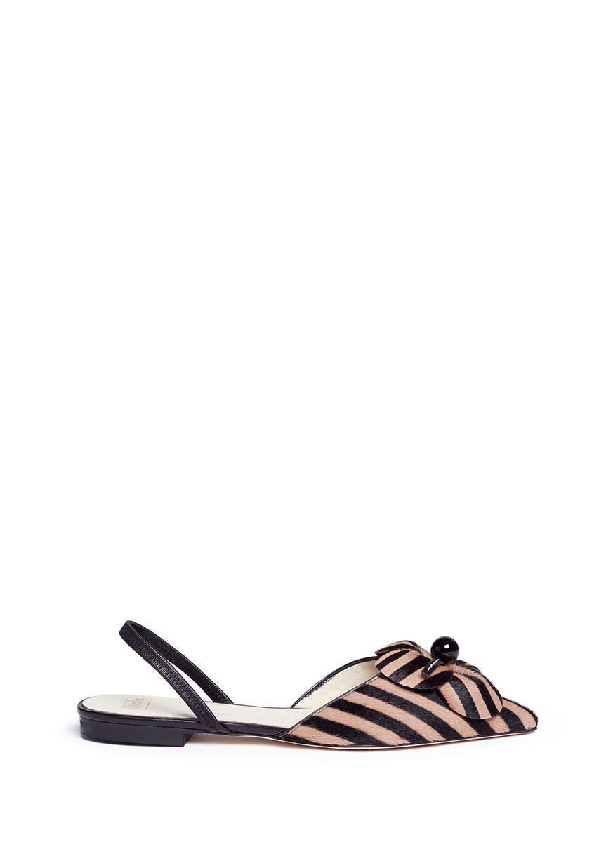 Margot striped calfhair slingback flats by Frances Valentine