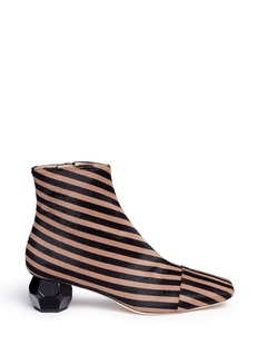 Frances Valentine'Marnie' geometric heel stripe print calfhair boots